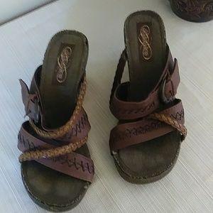 Skechers Sz 7 Cork Wedge Sandals